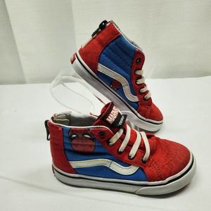 Vans x Marvel Spiderman Sk8t High-top Sneakers Toddler 9 EUC Red and Blue